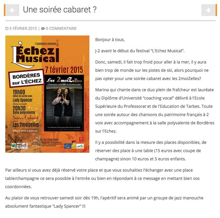 """Article dédié de l'actualités """"Une soirée cabaret ?"""""""