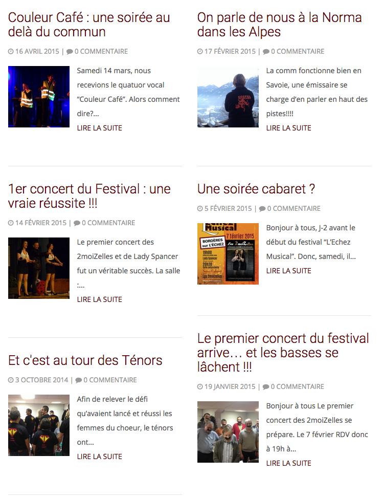 Exemple : La page des actualités