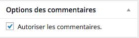 Autoriser ou non les commentaires.