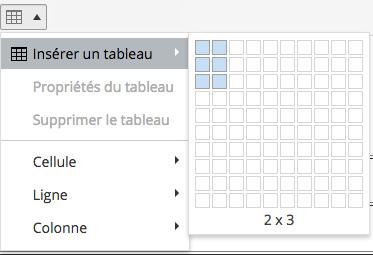Choix du nombre de colonnes et de lignes d'un tableau.