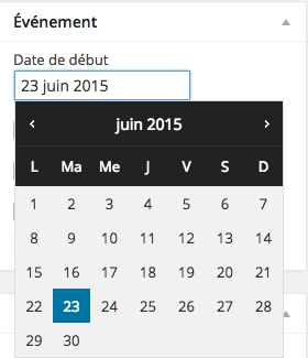 Sélection de la date de début d'un événement.