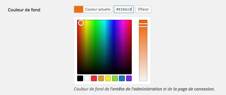 Choix de la couleur de l'espace d'administration.