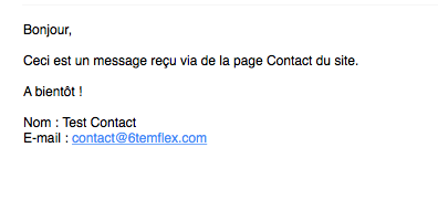 Exemple d'e-mail reçu par la page Contact du site