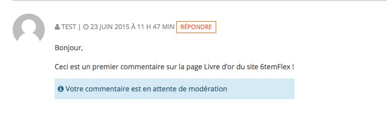Commentaire venant d'être déposé sur le site, en attente de validation.