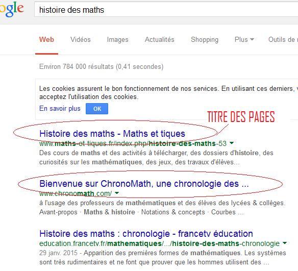 Le titre d'une page se retrouve en première ligne sur les moteurs de recherche