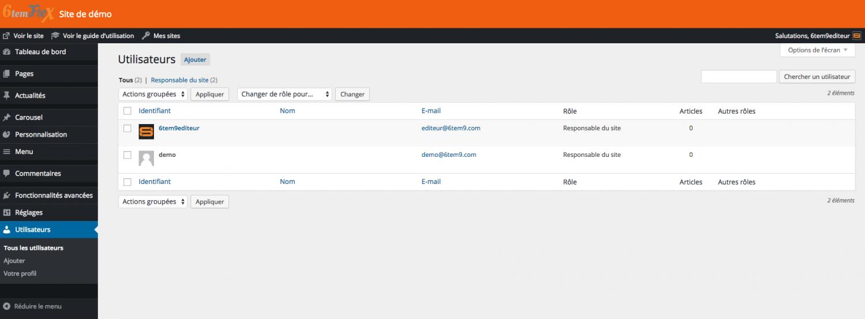 Exemple de liste d'utilisateurs du site.