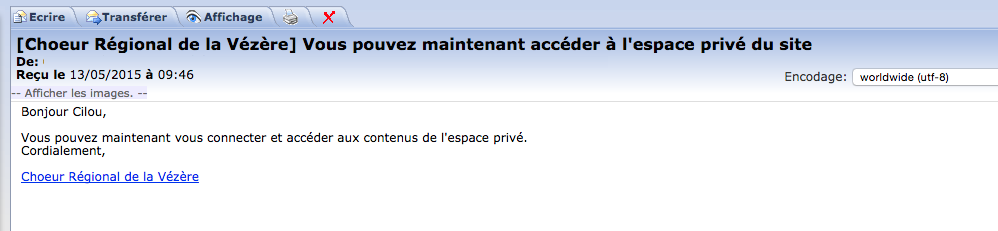 Réception d'un mail de confirmation à l'inscription de l'internaute