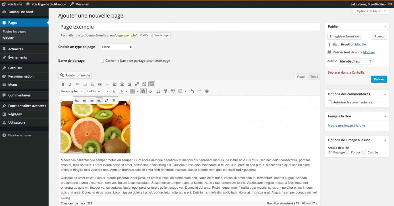 Modifier une image insérée dans un contenu