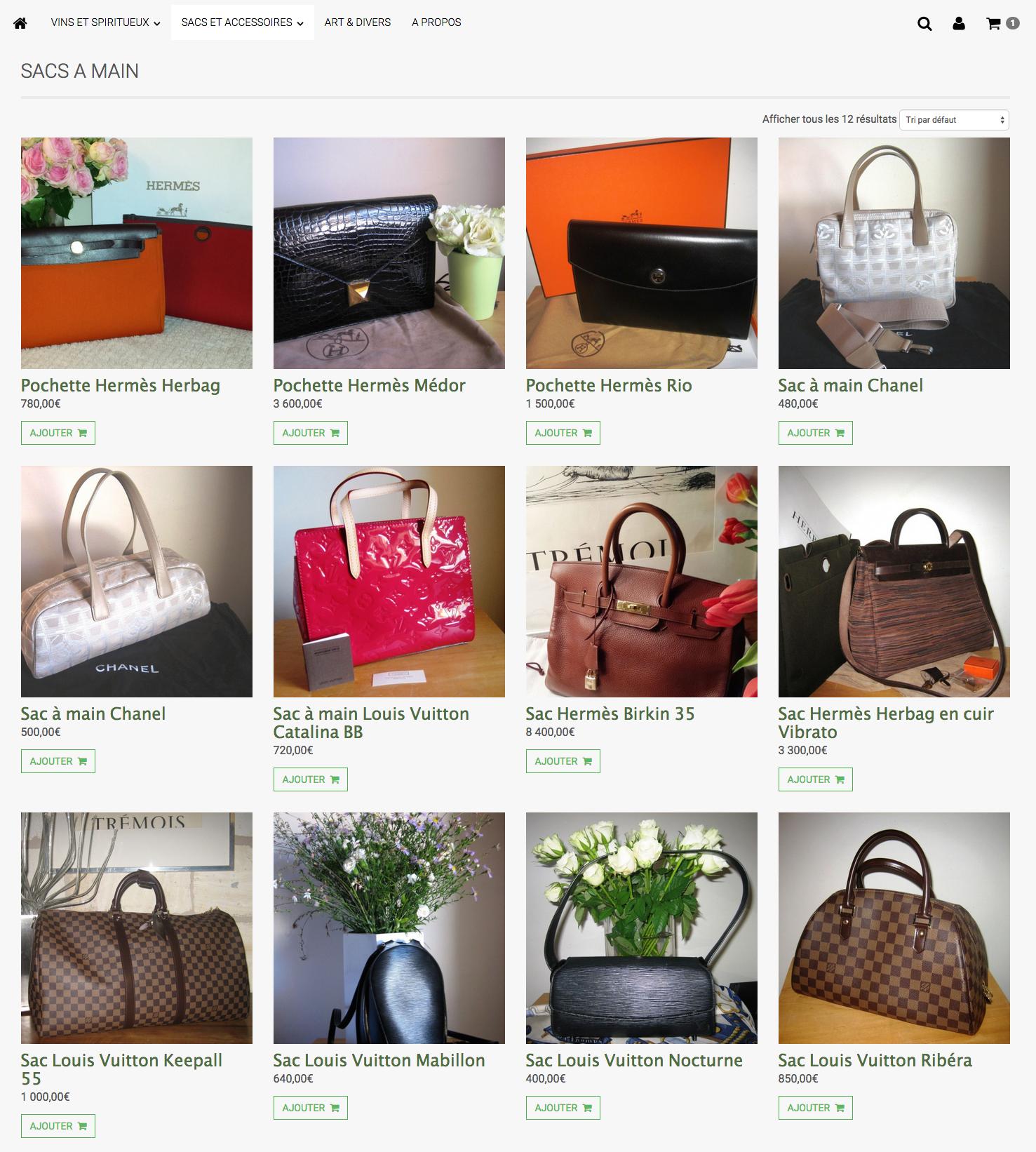 Exemple d'un site e-commerce