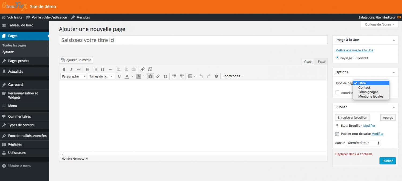 Ajouter une page libre