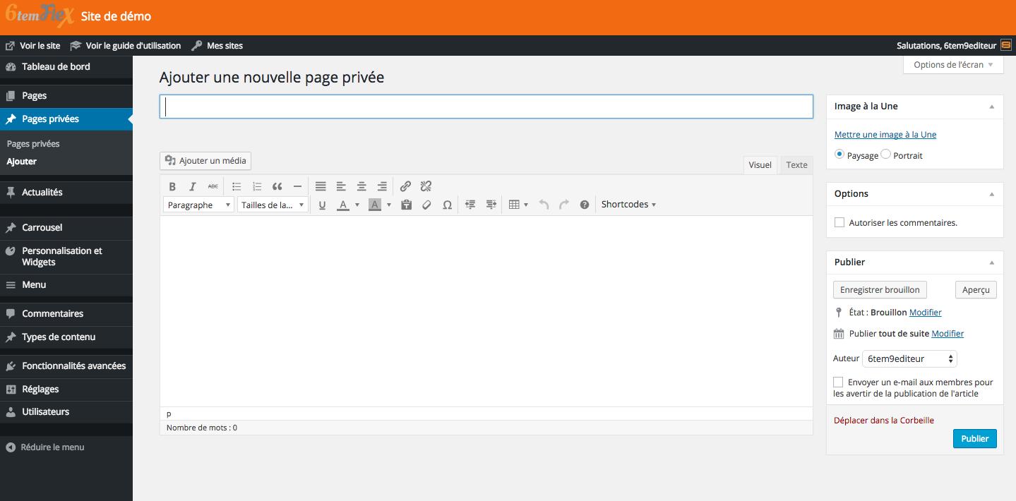 Ajouter une page dans l'espace privé