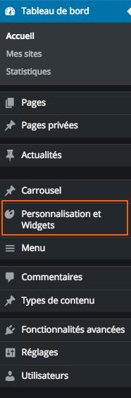 Rubrique Personnalisation et Widgets