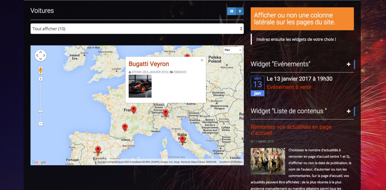 Carte intégrée site internet
