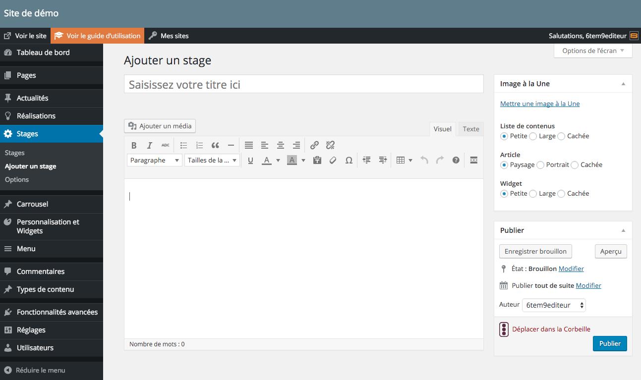Editer la page détaillée d'un type de contenu (exemple avec le type de contenu Stages).