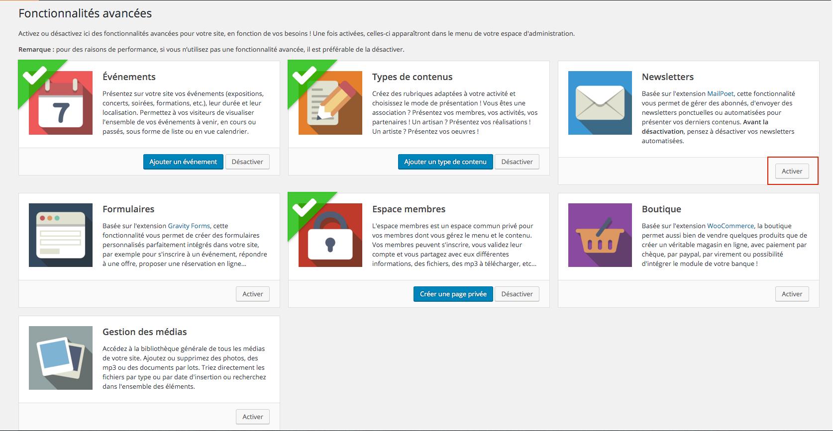 Activer la fonctionnalité avancée Newsletter