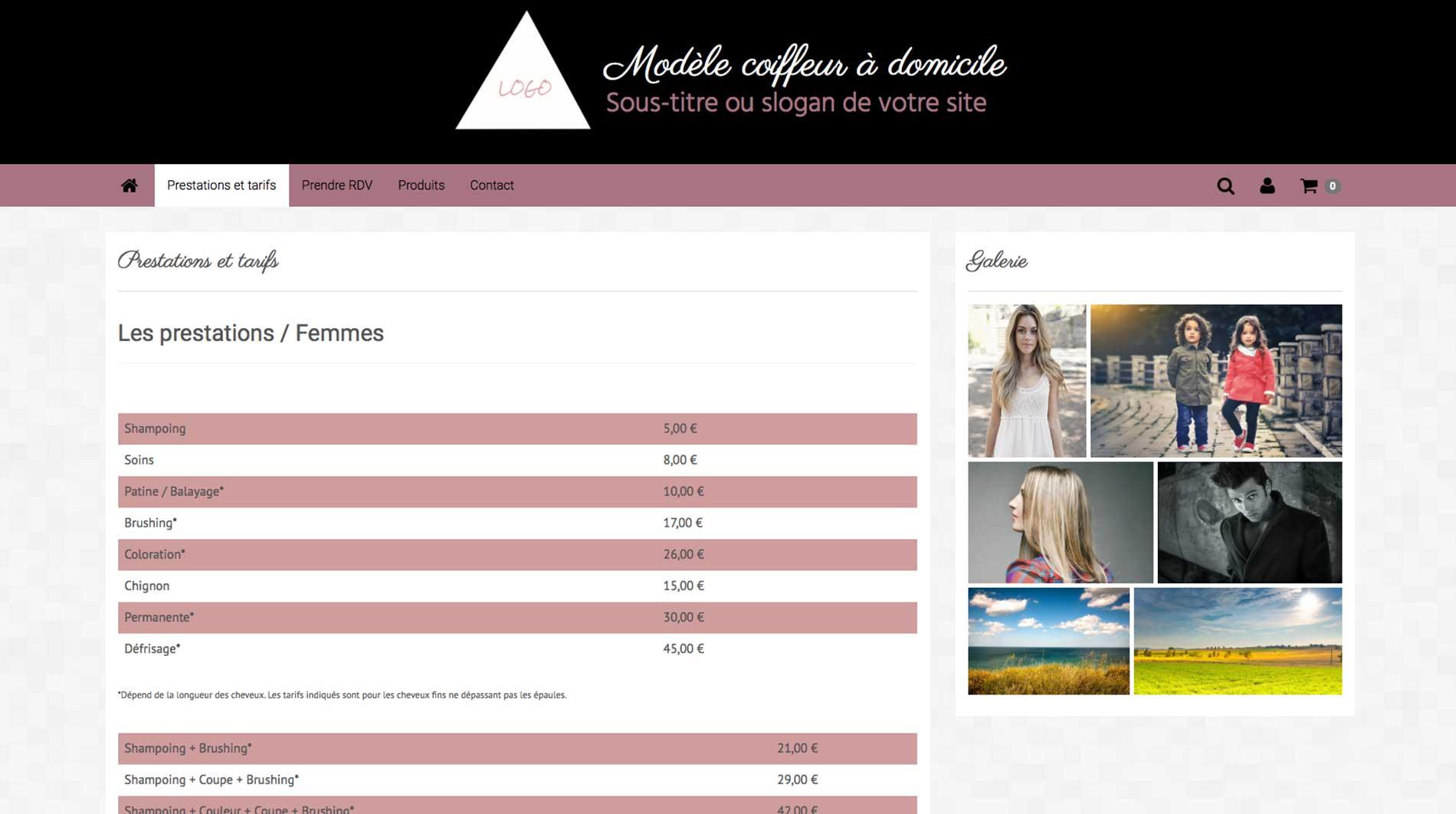 Faire un site internet de coiffeur à domicile - présenter ses prestations