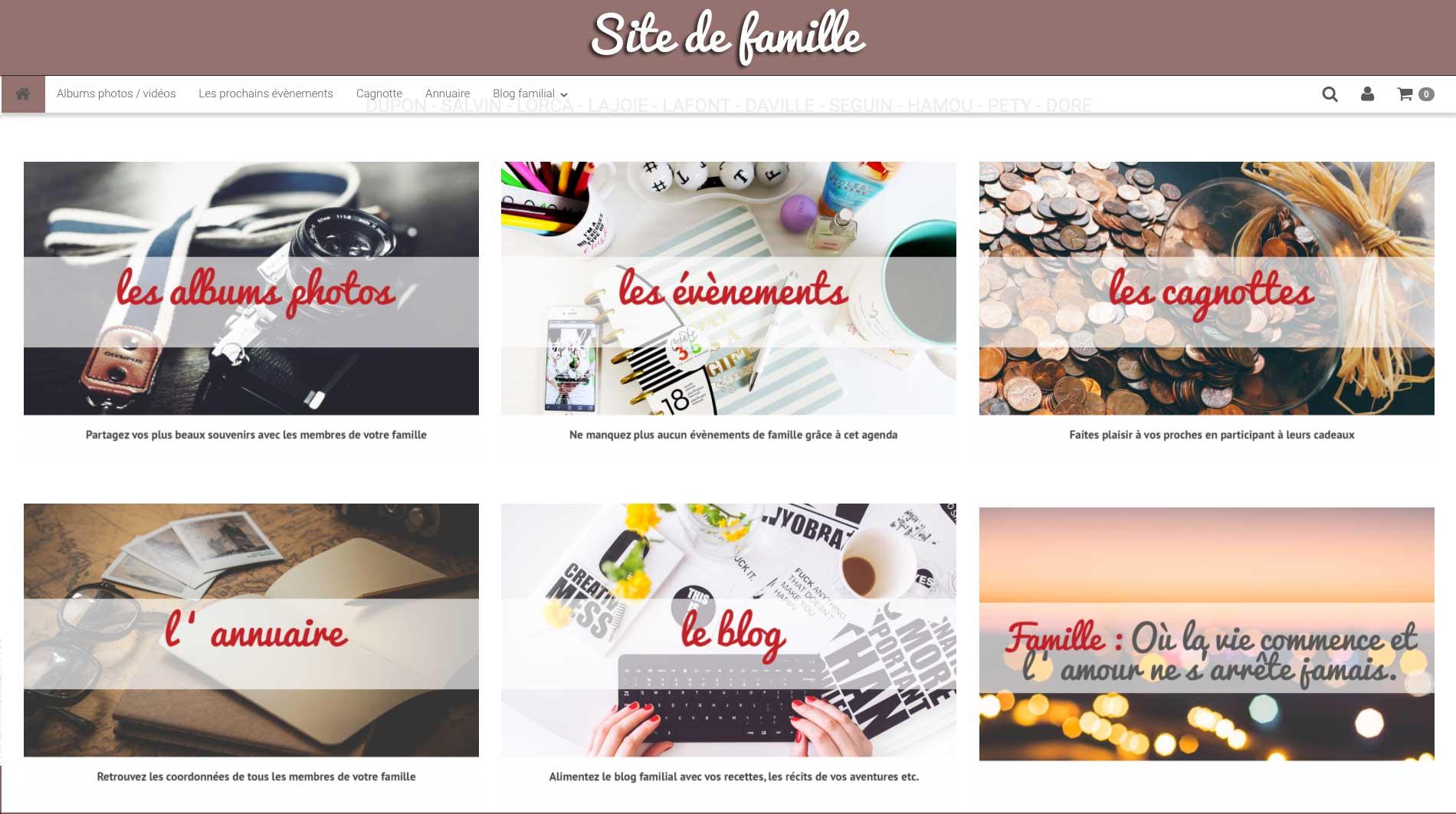 Page d'accueil site pour famille