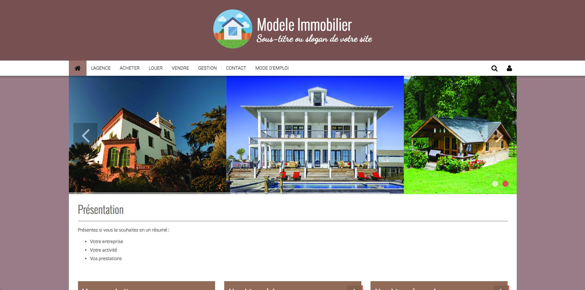 Faire simplement la page d'accueil d'un site immobilier