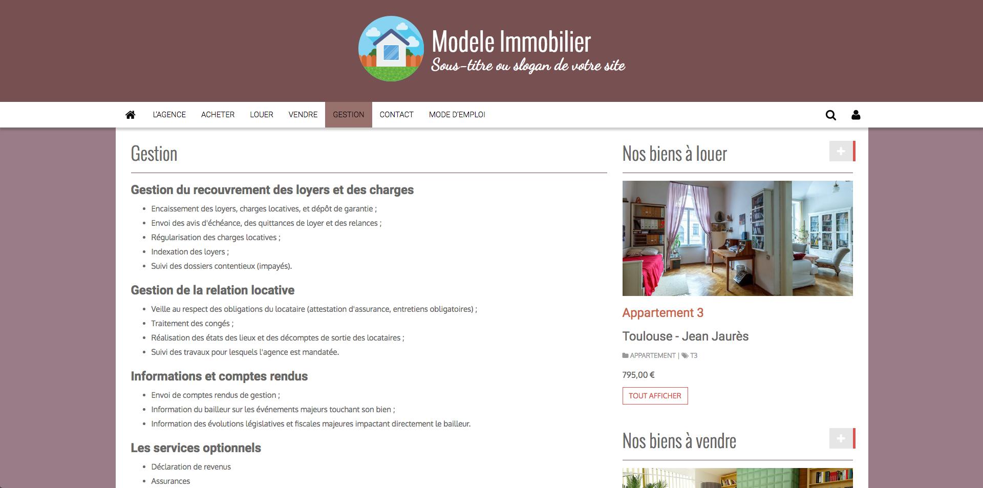 Gérer un site Internet immobilier
