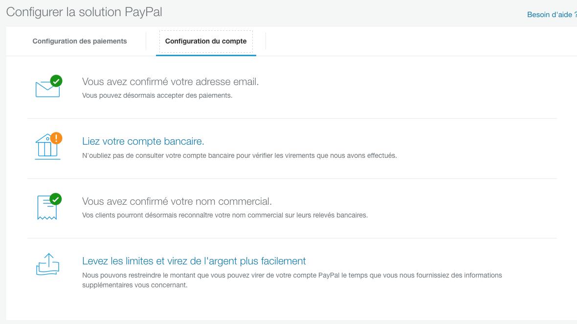 4 étapes à valider pour configurer votre compte Paypal