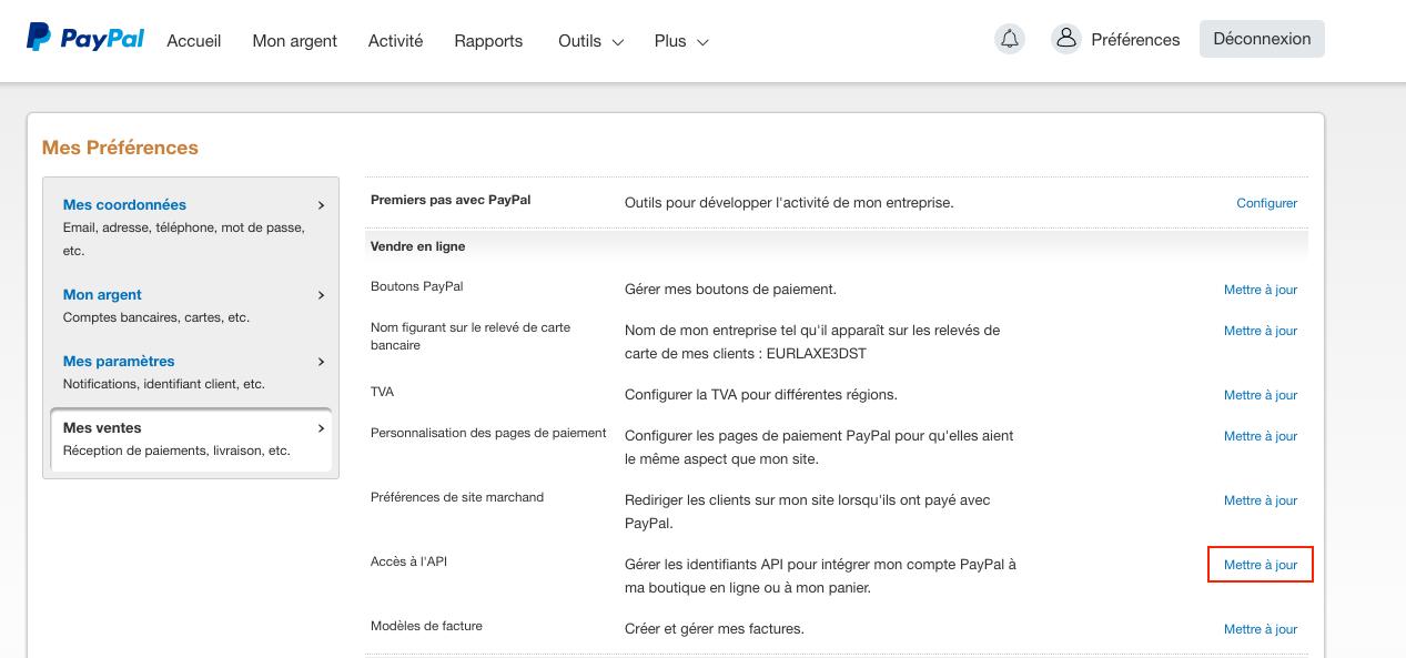 Mettre à jour l'accès à l'API