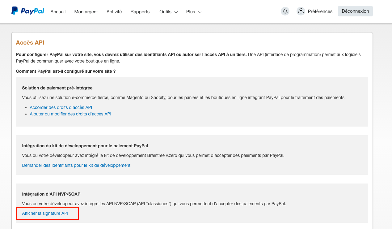 Afficher la signature API