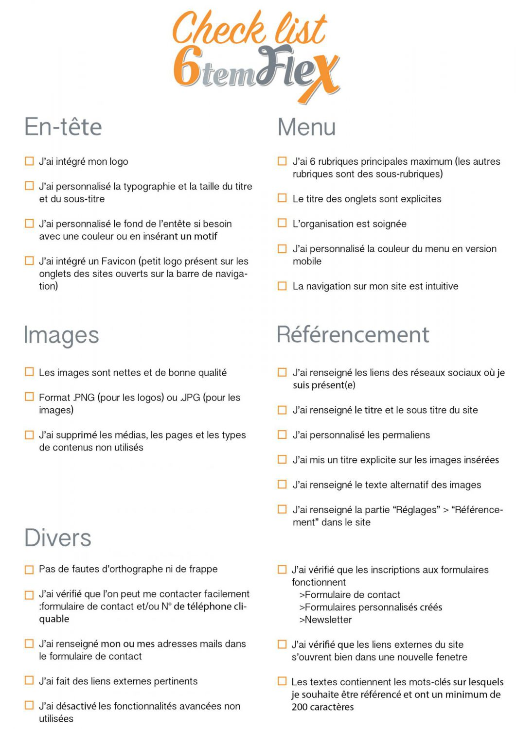 check list point a verifier avant mise en ligne du site