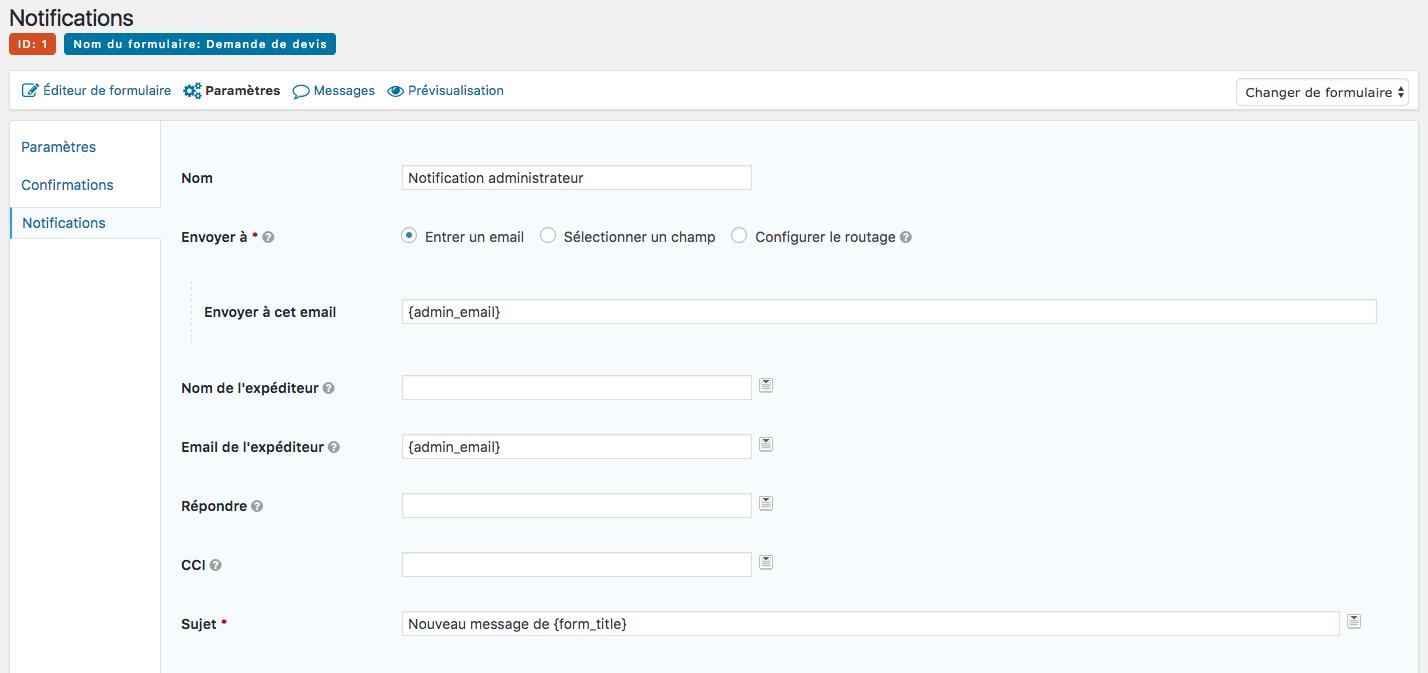 Configuration formulaire