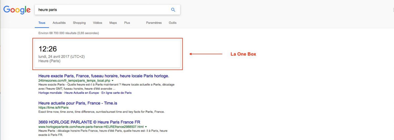La One Box de Google - Référencement