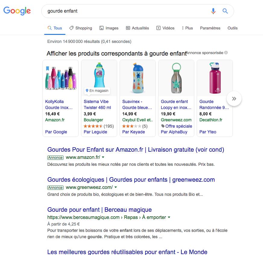 Exemple de résultat de recherche sur Google avec affichage de produits sponsorisés